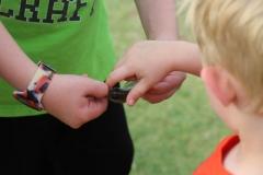 fenwick boy touching fish