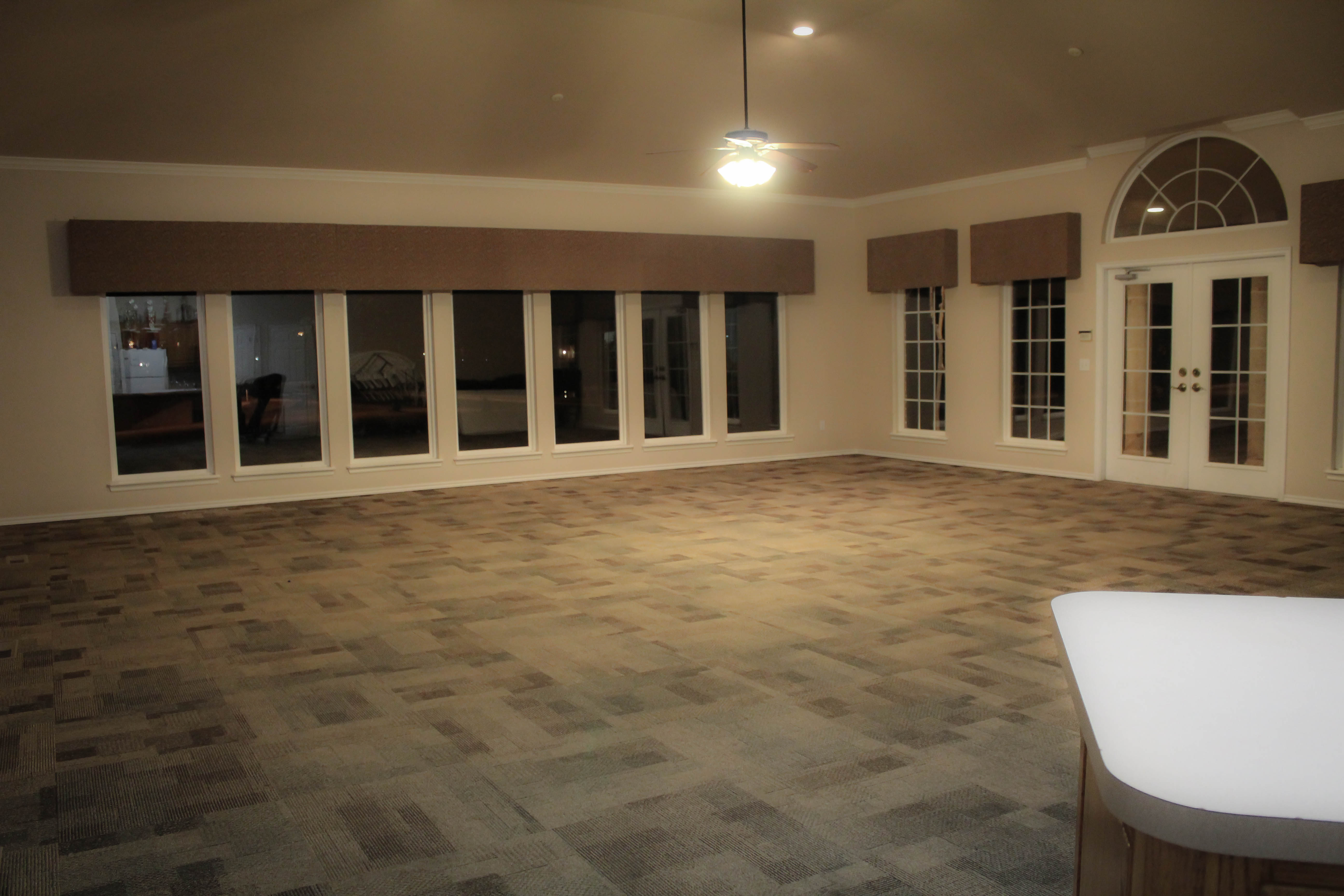 wide shot of inside clubhouse